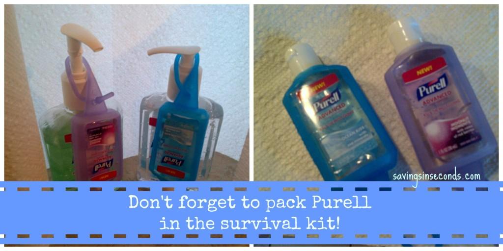PURELL is going in my emergency preparedness kit.  savingsinseconds.com