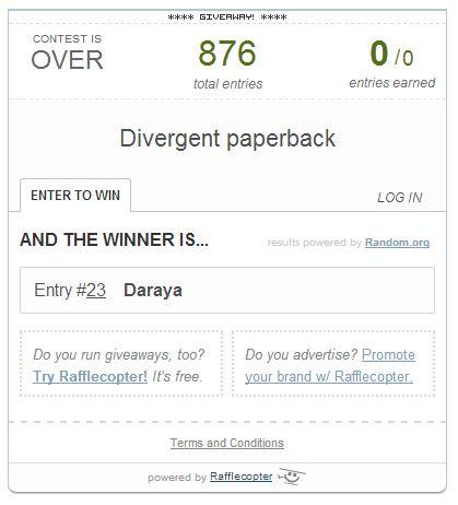 Look who won the Divergent giveaway at savingsinseconds.com