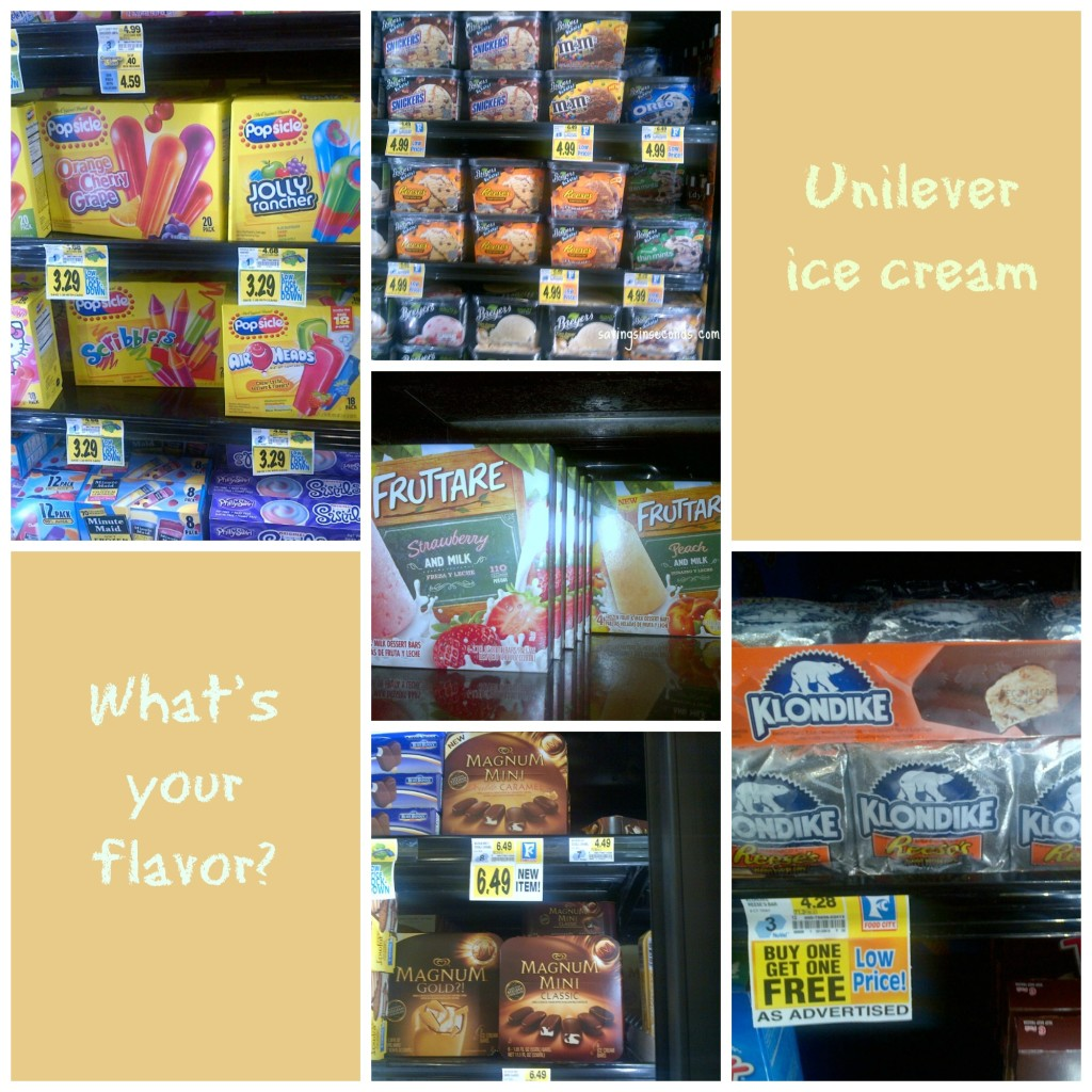 Uniliver ice cream -- what's your flavor?  savingsinseconds.com