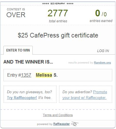 Look who won a Cafepress gift certificate! savingsinseconds.com