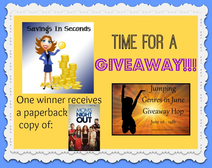 Jumping Genres giveaway - win a paperback copy of Mom's Night Out! savingsinseconds.com