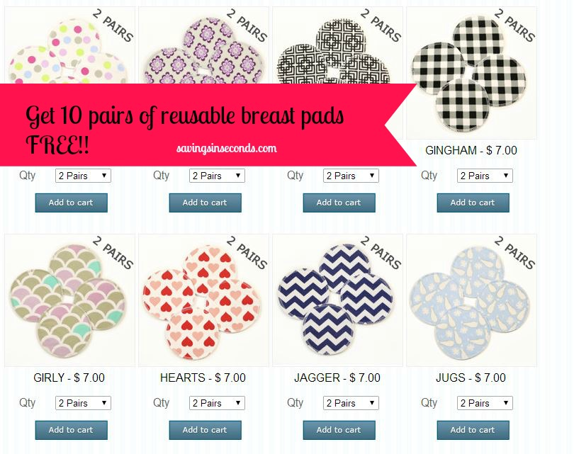Get 10 pairs of reusable breast pads free -- find out how at savingsinseconds.com