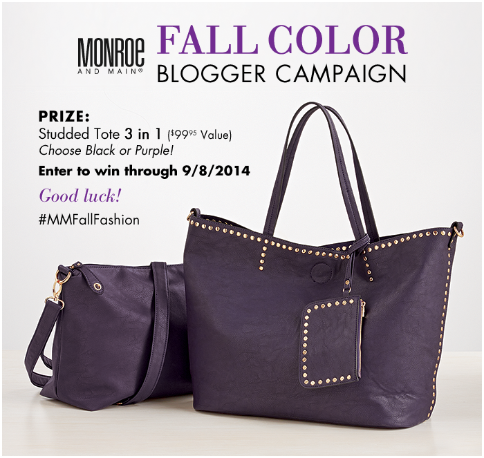 Fall Color bag from Monroe and Main - enter to win at savingsinseconds.com