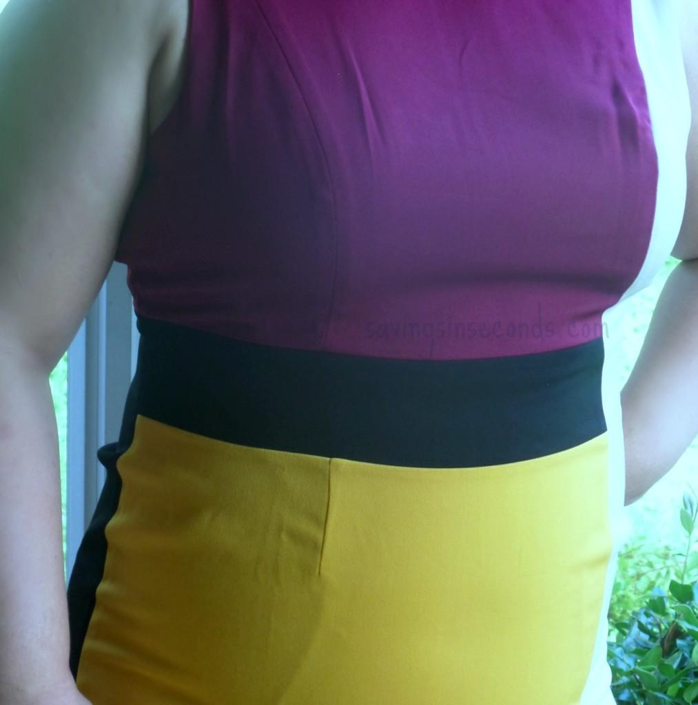 Watch how the Monroe and Main block sheath dress slenderizes - savingsinseconds.com #MMFallFashion