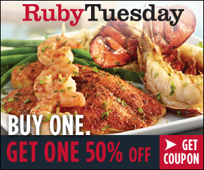 RubyTuesdayBOGO printable coupon -- get yours through 9/19!  Plus a $25 giveaway -- savingsinseconds.com