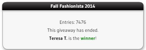 Fall Fashionista winner