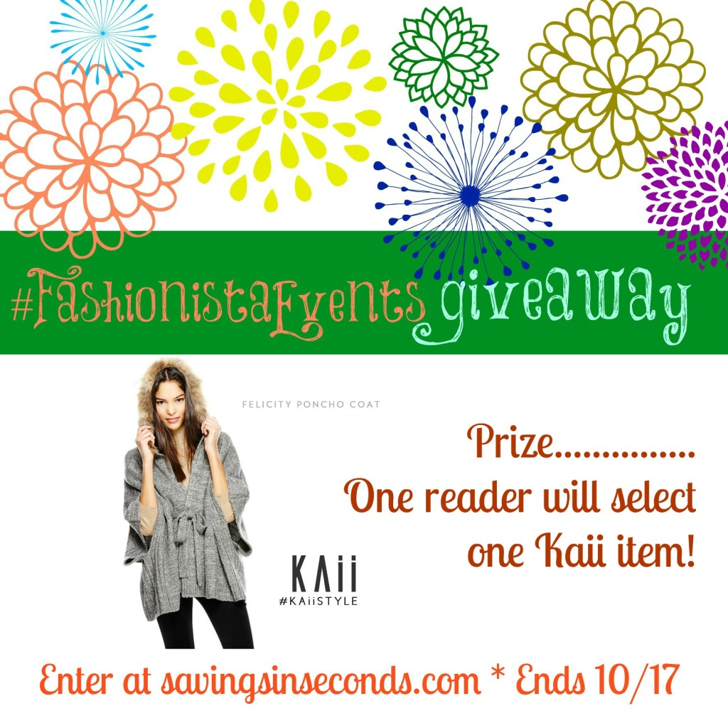 Enter to win an item of your choice from Kaii -- #FashionistaEvents at savingsinseconds.com end 10/17