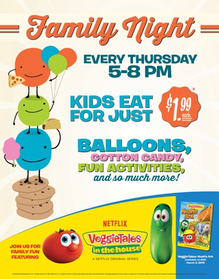 Veggie Tales Family Night  - find out more at savingsinseconds.com