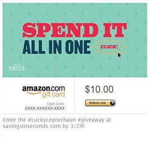 Lucky Leprechaun #giveaway - $10 Amazon gift code. Enter at savingsinseconds.com