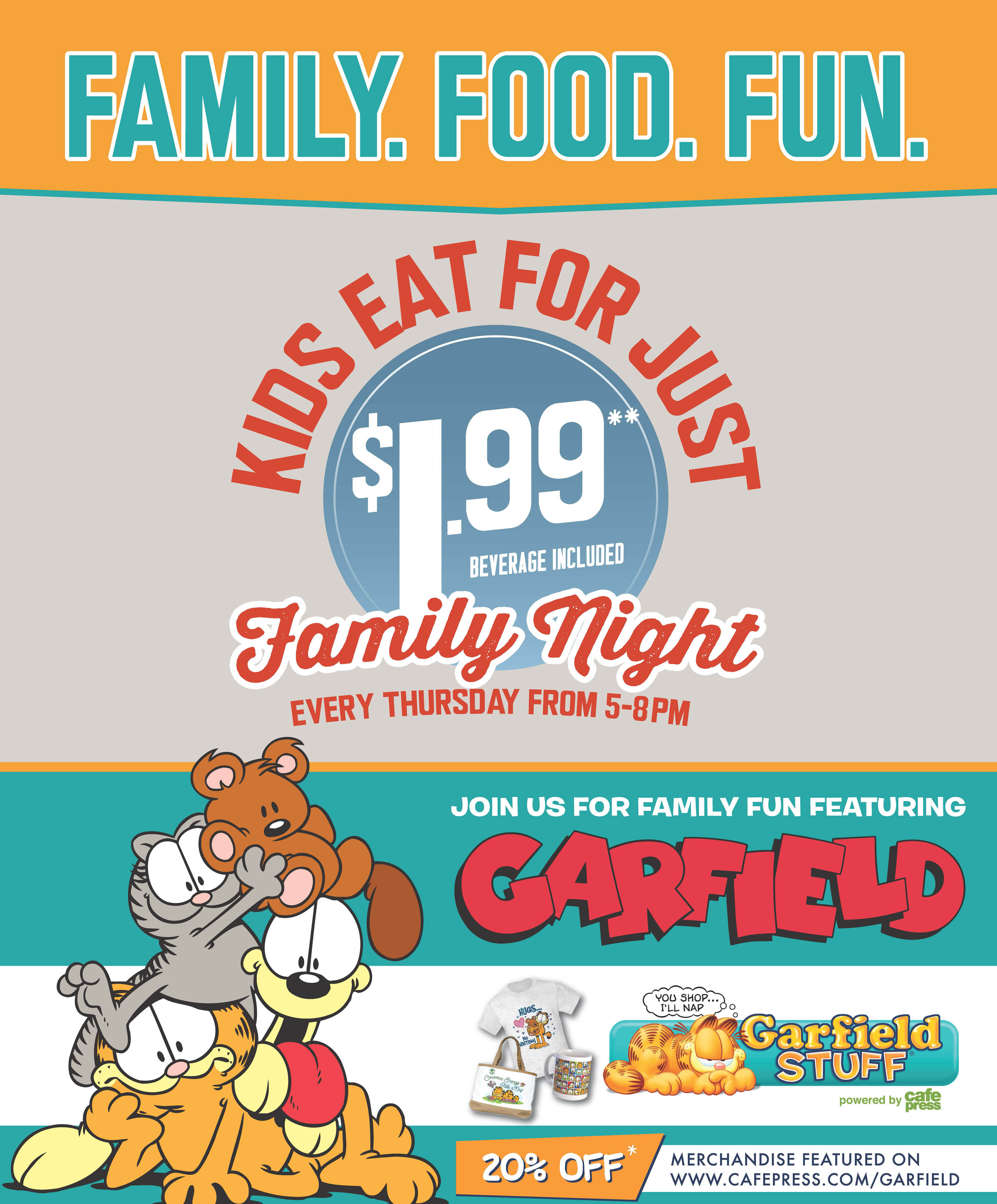 Ryan's is hosting Garfield themed Family Night on Thursdays!