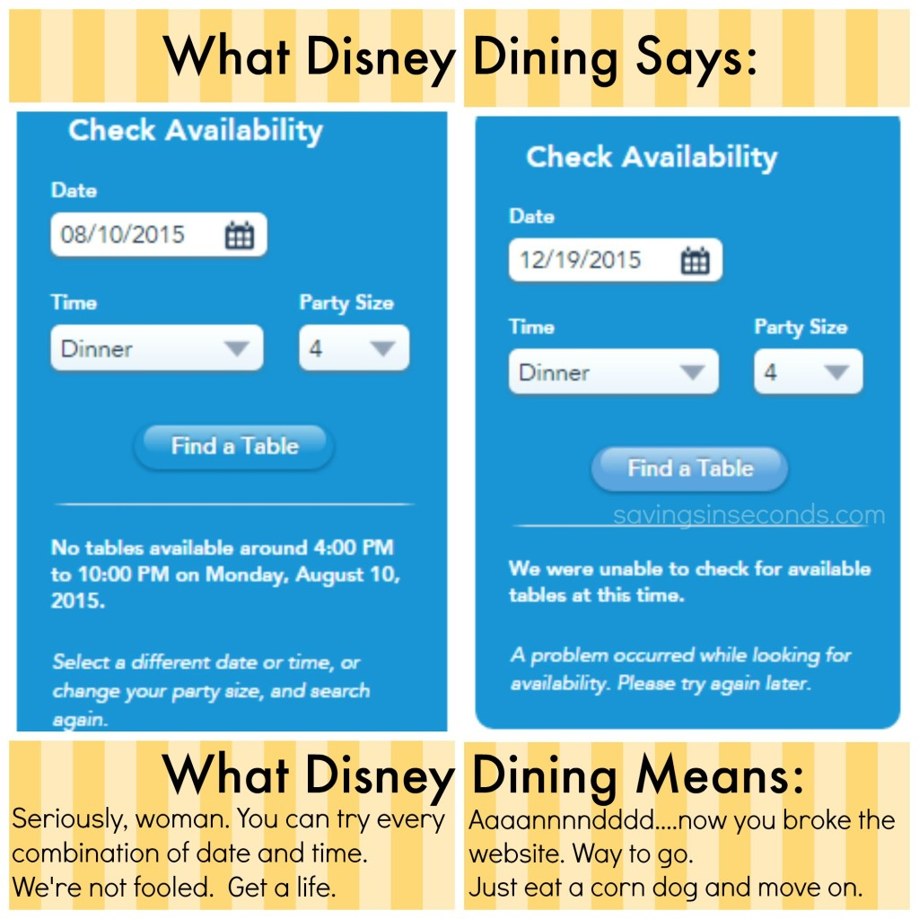 Disney dining woes - savingsinseconds.com