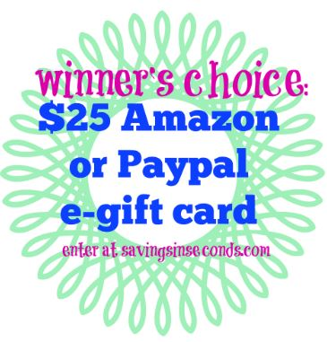 Enter to win $25 Amazon or Paypal - ends 8/31 savingsinseconds.com