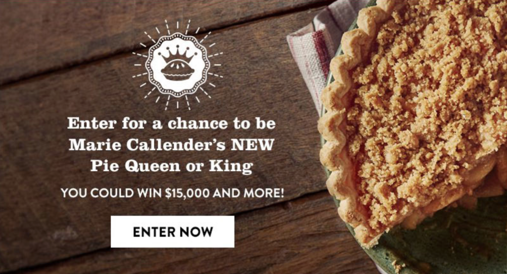 Enter for the chance to be @MarieCallenders new Pie Queen or King!