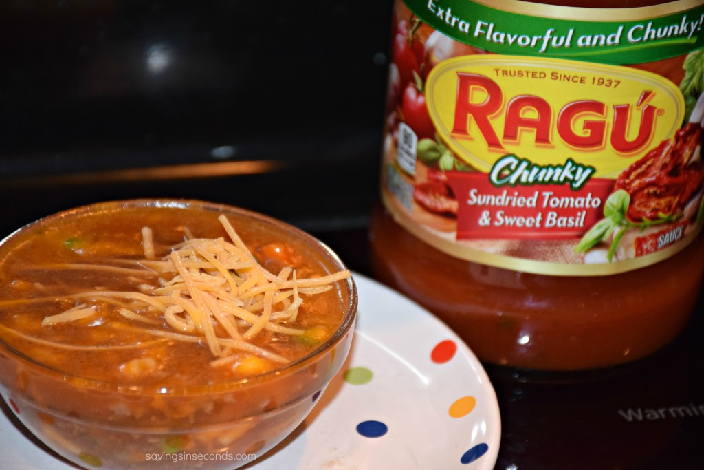 Vegetable beef soup over pasta made simple with #Ragu #steepedintradition #ad #giveaway at savingsinseconds.com