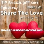Share the Love #Giveaway Hop – enter to win $10 Amazon gift card code