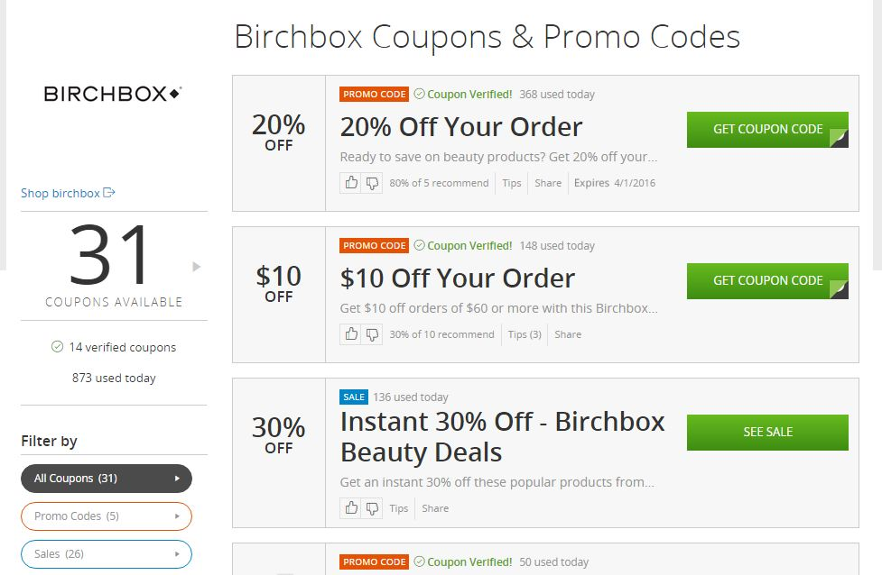 Birchbox coupons - easy to find! savingsinseconds.com