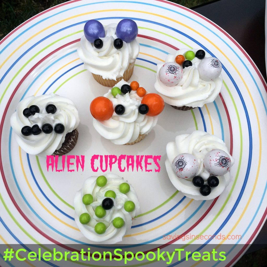 Alien Cupcakes #CelebrationSpookyTreats #giveaway at savingsinseconds.com