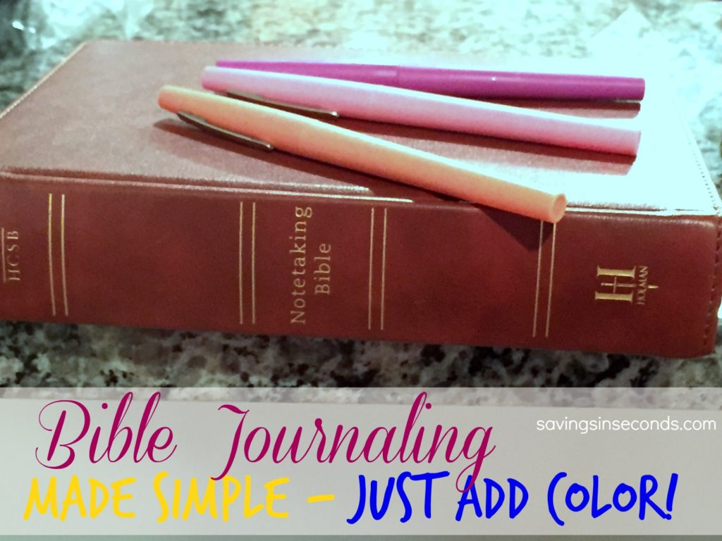 Bible Journaling Made Easy - just add color! Featured on savingsinseconds.com