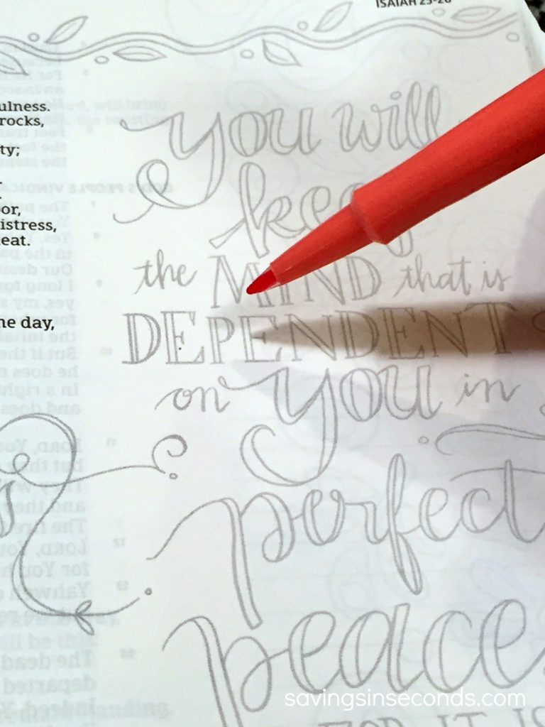 Bible Journaling Made Simple - just add color! Featured on savingsinseconds.com